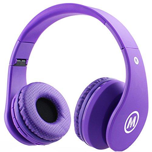 Mokata Kids Headphone Bluetooth Wireless Over Ear Foldable Rechargeable Stereo Sound Headset with AUX SD Card Slot, in Microphone for Boys Girls Cellphone TV PC ipad Equipment B01 Purple