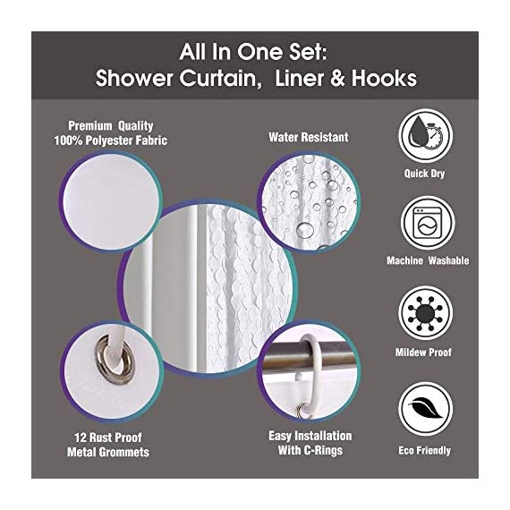 White Shower Curtain & Liner with 12 Shower Curtain Hooks. 72 x 72 Inch Eco Friendly 100% Polyester Fabric Farmhouse Shower Curtain Bathroom Set. Farmhouse Bathroom Décor by OHH! - 🚿 STYLISH: Elegant ruffle design that will suit any style; farmhouse, rustic, chic, modern or coastal. 🚿 ALL IN ONE SET: 1 x white shower curtain, 1 x white shower curtain liner and 12 x shower curtain rings. Don't waste time shopping around for individual items. 🚿 ECO FRIENDLY: Both liner and curtains are made from 100% polyester waterproof fabric meaning no vinyl smell. - shower-curtains, bathroom-linens, bathroom - 51B1VMDiCaL. SS570  -