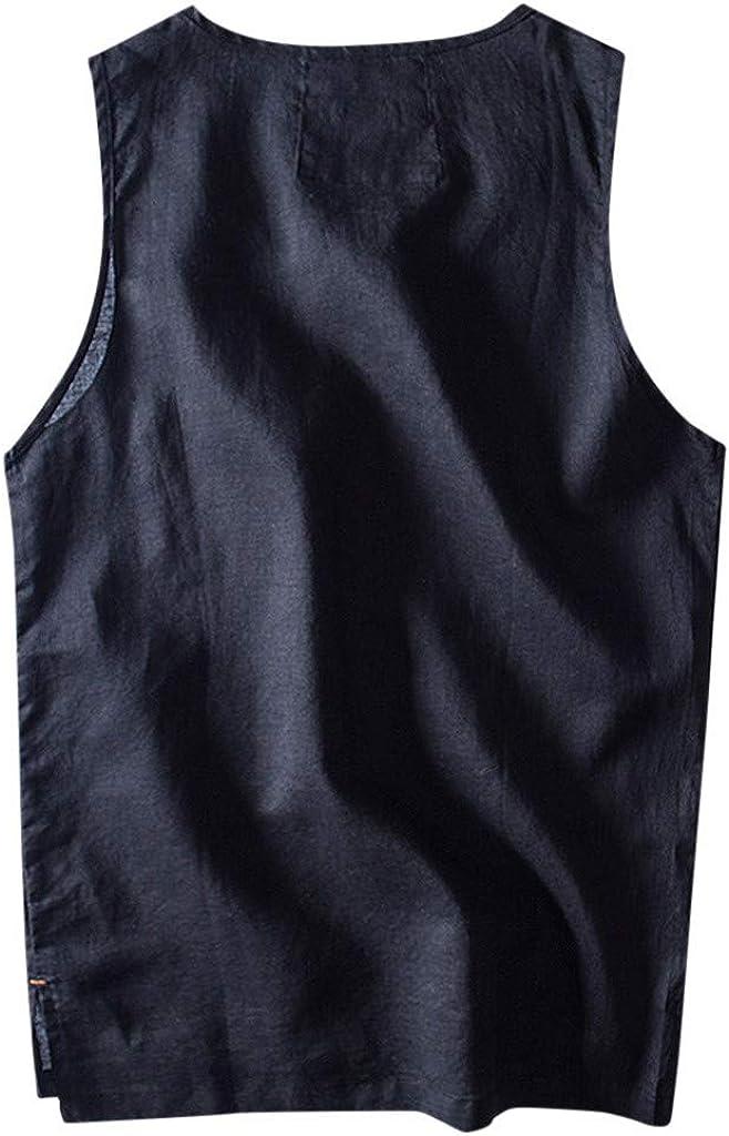 Mens Baggy Tank Tops Casual Cotton Linen Sleeveless O-Neck Vest Sunmer Solid Shirt