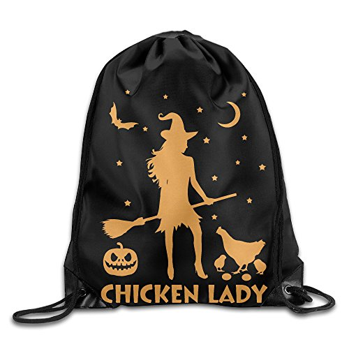 Chicken Lady Halloween Funny Witch Sackpack Training Gymsack Drawstring Bag Drawstring Backpack Sport Bag Travel Bag Pouch Portable Backpack Rucksack Bagsack 16.9