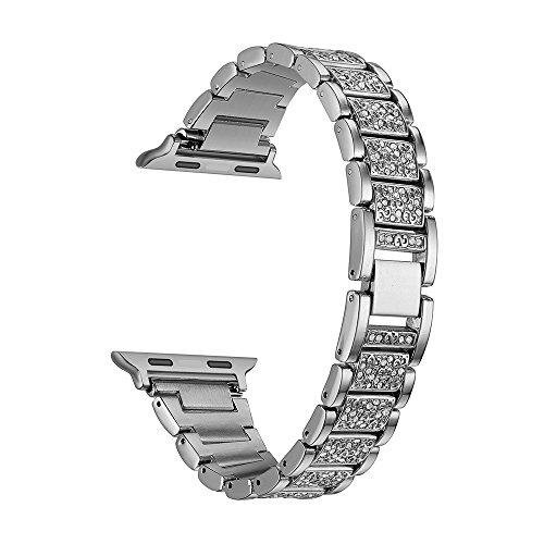Kartice for Apple Watch Band ,Alloy Crystal Rhinestone Diamon Watch Band Luxury Stainless Steel Bracelet Strap Watch Bands for Apple Watch All Models (T-Silver-38mm) by Kartice
