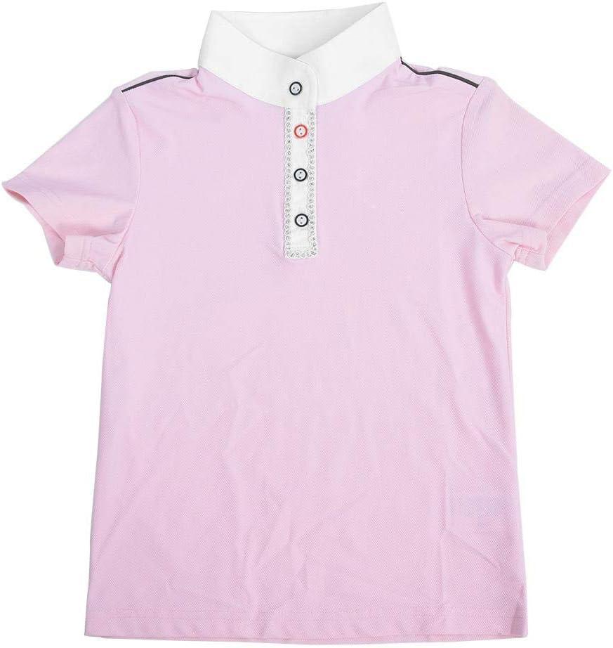 Tihebeyan Polo Rosa equino para niñas Equitación Ropa de Manga Corta Transpirable Camisa Polo de Secado rápido Transpirable