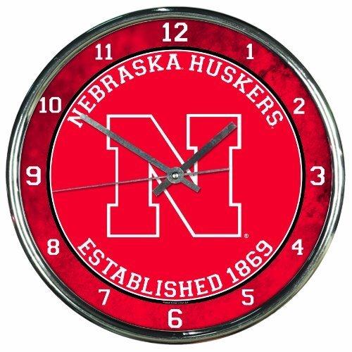 - Wincraft NCAA Nebraska Cornhuskers Chrome Clock