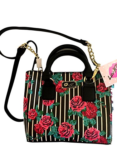 Betsey Johnson Floral Roses Striped Dome Crossbody Purse (Striped Dome)