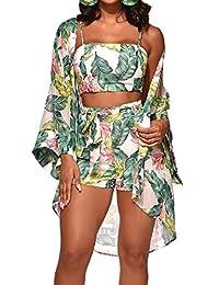 SHOWNO Women 3 Pieces Set Beach Summer Crop Tank & Shorts & Cardigan Boho Outfits