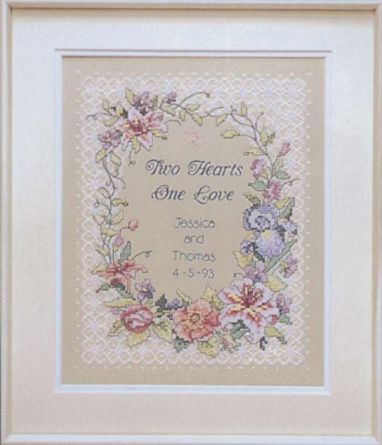 Heart Wedding Sampler - Two Hearts Wedding Record Stamped Cross Stitch Kit-11x14