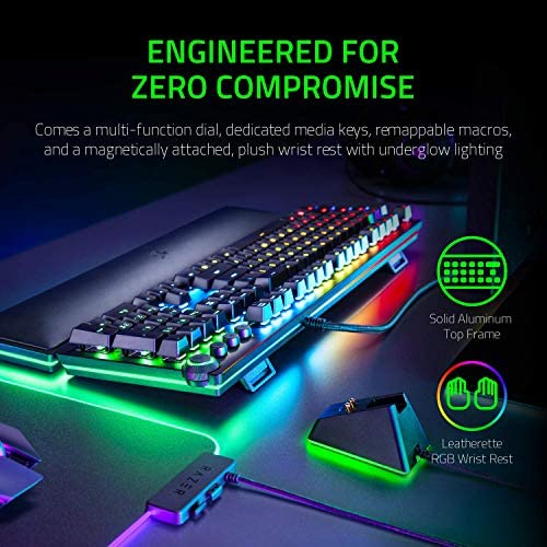 Razer Huntsman Elite Gaming Keyboard: Fastest Keyboard Switches Ever – Clicky Optical Switches – Chroma RGB Lighting – Magnetic Plush Wrist Rest – Dedicated Media Keys & Dial – Classic Black 51B1X5CmVSL