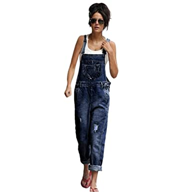 c12918894e77 Greatgiftlist Women Loose Denim Bib Ribbed Hole Pants Overalls Jumpsuit  Romper Denim Jeans Trousers (M