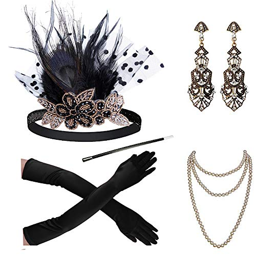 1920s Accessories Headband Necklace Gloves Cigarette Holder Flapper Costume Accessories Set for -