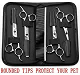 Augymer 5 PCS Rounded Tips Pet Grooming Scissors Kit, Curved Pet Grooming Shears