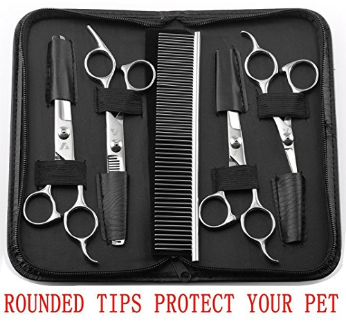 AUGYMER Pet Grooming Scissors Kit, Rounded Tips 5 PCS Curved Pet Grooming Scissors for Cats Dogs Stainless Steel Scissor for Body Face Ear Nose Paw by AUGYMER