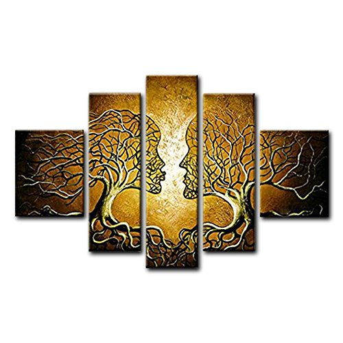 FLY SPRAY 5-Piece Golden Couple Trees Oil Paintings On Canvas Stretched Framed Hand-Painted Modern Abstract Wall Art For Living Room Bedroom - City Stores Silver Galleria