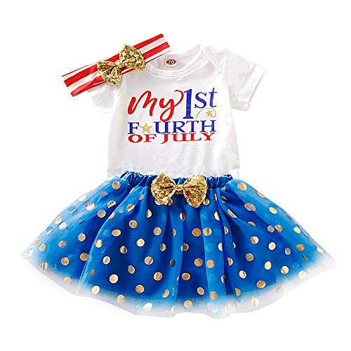 My First July 4th Outfits Newborn Baby Girl Short Sleeve Romper Dot Print Tutu Dress with Bow Headband Independence Day Set