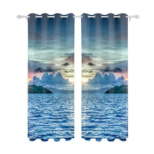 Bora Bora French Polynesia Sunset Ocean Printed Blackout Room Darkening Thermal Grommet Window Curtain Drape Panels for Kids Room - Set of 2
