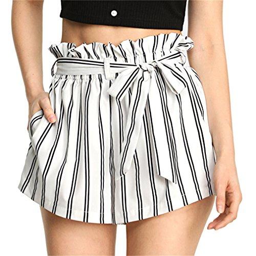 Pantaloncini alta laccetti a righe Pantaloncini lunghi alta allacciatura donna Pantaloncini viaggio elastici in vita donna Black And White