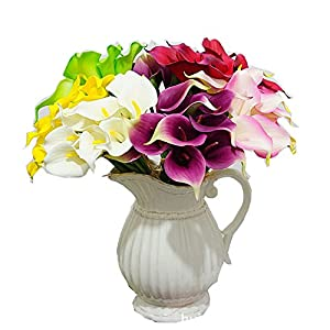 Winterworm Soft Latex Real Touch Faux Flower Artificial Calla Lily Flower Bouquet For Wedding Party Home Garden Restaurant Decoration - Bunch of 10 61