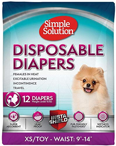 Simple Solution True Fit Disposable Dog Diaper with Tail-Hole, XS/Toy, 12 Count, 12 Pack