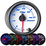 GlowShift White 7 Color 35 PSI Turbo Boost Gauge