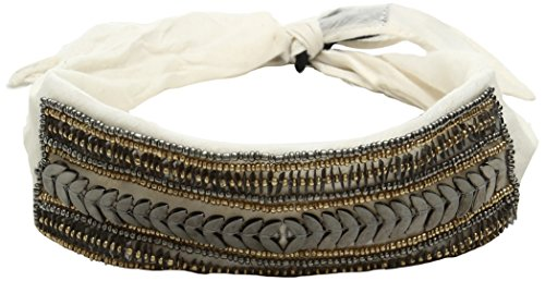 Steve Madden Women's Solid Bandana Choker with Sequins and Beads, Ivory, One Size (Silk Scarves For Sex)