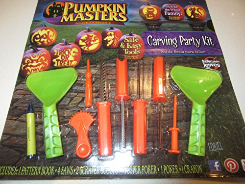 Pumpkin Masters America's Favorite Pumpkin Carving Party Kit (12 patterns in book, 4 Saws, 2 Scraper Scoops, 1 Super Poker, 1 Poker and 1 Crayon - Create that Perfect Pumpkin with the Kids!! -