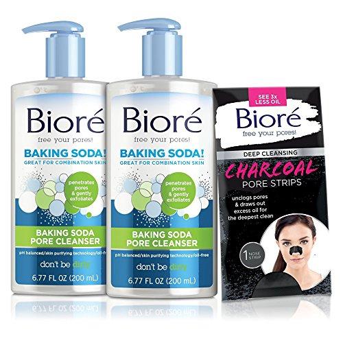 Bioré 2-PACK Baking Soda Pore Cleanser for Combination Skin (6.77 oz) + One Bioré Deep Cleansing Charcoal Pore Strip for Nose