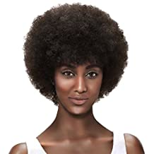 "SLEEK Afro 5"" Short Curly Wigs with 100% Brazilian Hair (Fluffy Tight Curls, DARK BROWN) - Afro Wigs for Black Women - Human Hair Wigs - Short Wigs Capless Wigs - Afro Wig Beauty Personal Care"