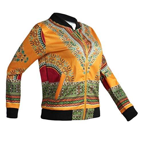 Casual Gelb Lannister Maniche Cerniera Etnico Cappotto Giacche Autunno Primaverile Relaxed Giubbino Vintage Corto Fashion Donna Ragazza Stile Jacket Con Lunghe O8zxrOqwHn