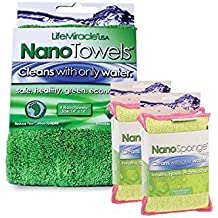 NanoTowels x 1 + NanoSponges x 2 - The Revolutionary Nano-Line Cloth and Sponge Technology That Cleans With Only Water, Eliminating Toxic Chemical Cleaners.