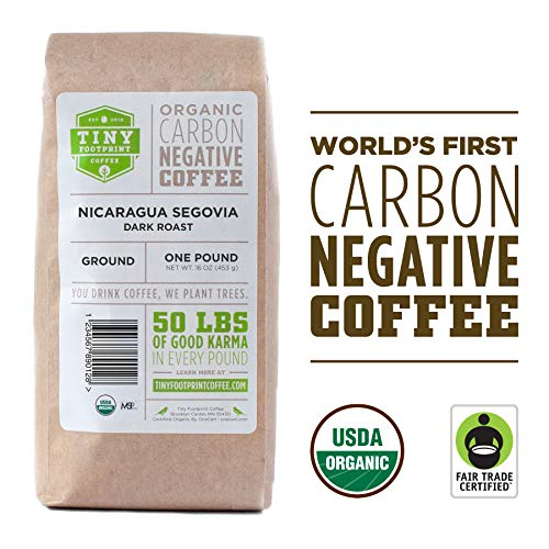 Tiny Footprint Coffee - Fair Trade Organic Nicaragua Segovia Dark Roast |Ground Coffee | USDA...