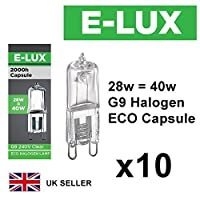 Pack of 10 x G9 28w=40w Branded 240V Dimmable 370 Lumen C Rated Safety Fused Eco Halogen Clear Bulbs Lamps Capsules