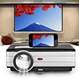 EUG Upgraded Smartphone Video Projector with 200'' Display 3500 Lumen Wxga 1080P Multimedia Outside Theater Projectors for TV Sports Home Entertainment Xbox Playstation, HDMI cable &inbuilt Speaker
