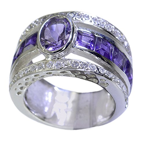 Amethyst Ring Real Bold 925 Silver February Birthstone Mixed Stone Bezel Style Size 5,6,7,8,9,10,11,12