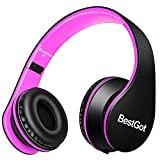 BestGot Kids Headphones Girls Over Ear with Microphone for Kids Adult in-line Volume with Transport Waterproof Bag Foldable Headphone with 3.5mm Plug Removable Cord (Black/Pink)