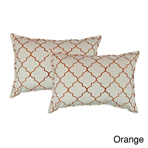 Sherry Kline Westbury Embroidered Reversible Boudoir Decorative Throw Pillow (Set of 2) Orange ()