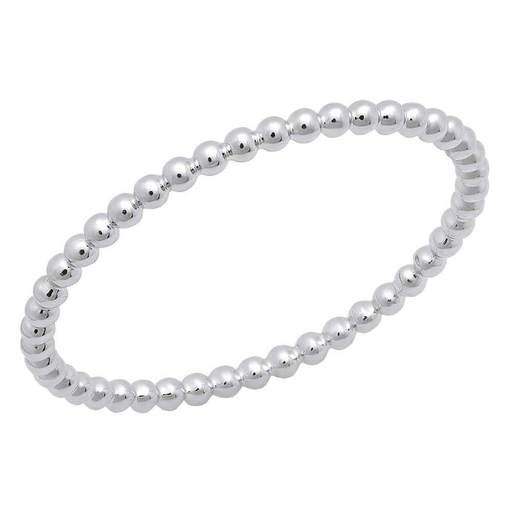 14K White Gold Beaded Style Ladies Ball Chain Design Wedding Band (Size 4)