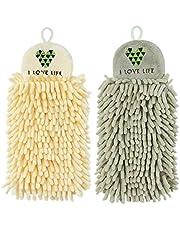 YUPVM 2Pcs Kitchen Hanging Towels Set Chenille Hand Face Wipe Towels Bathroom Washcloths