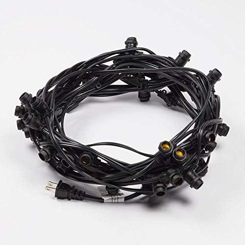 Fantado Cord Only 50 Socket Outdoor Commercial DIY String Light 54 FT Black Cord w E12 C7 Base, Weatherproof