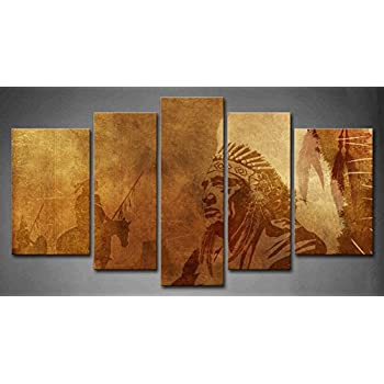 5 Panel Wall Art Brown Native American Chief Worriors On Horses Painting The Picture Print On  sc 1 st  Amazon.com & Amazon.com: 5 Panel Wall Art Brown Native American Chief Worriors On ...