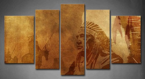 5 Panel Wall Art Brown Native American C - Native American Wall Decor Shopping Results