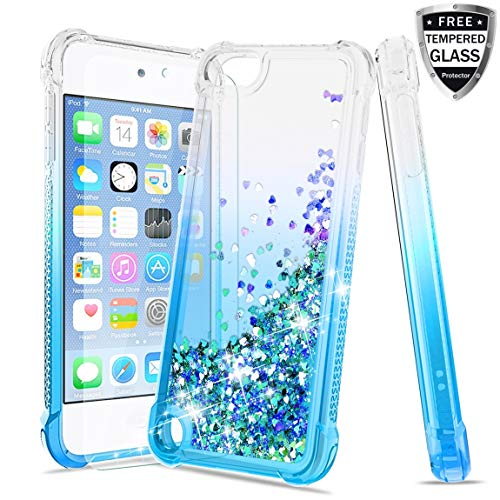 Tmacker iPod Touch 7th/ 6th/ 5th Generation Case, iPod Touch 7/6/5 with Tempered Glass Screen Protector,TPU Glitter Liquid Quicksand Shockproof Protective Phone Cover for Girls Women-Teal (Ipod Touch Best Price)