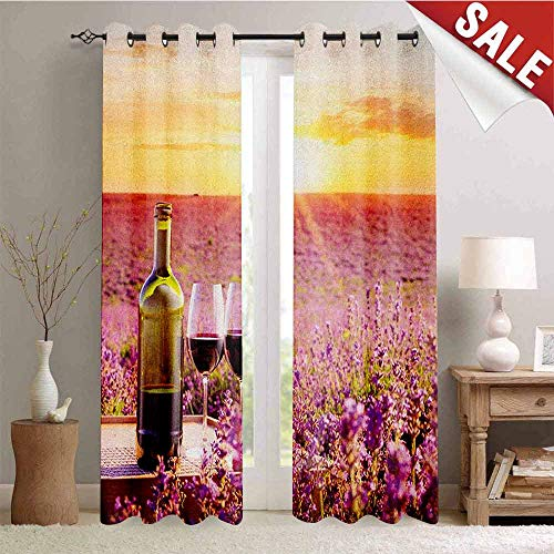 (Flyerer Wine, Blackout Window Curtain, Bottle of Wine Against Blossoming Lavender Landscape Country Meadow Picnic, Customized Curtains, W84 x L108 Inch Lavander Yellow Green)