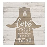 Love You More than I Can Bear Whitewash 5.5 x 5.5 Solid Wood Barnhouse Block Sign