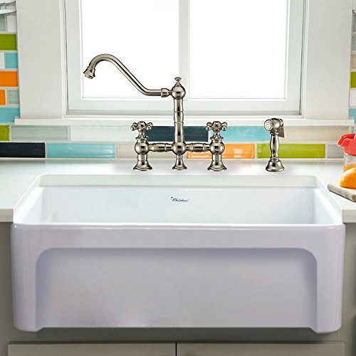 Whitehaus Collection WHQ5530-WHITE Fireclay Kitchen Sink, Large, White