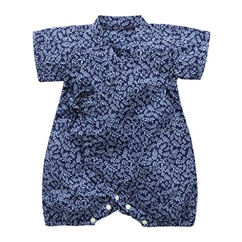 Zlolia Newborn Boys&Girls Floral Print Kimono Romper Cotton Round Neck Comfort Short Sleeve Jumpsuit Kids Summer Outfits Blue]()