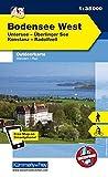 Deutschland Outdoorkarte 43 Bodensee West 1 : 35.000: Untersee, Überlinger See, Konstanz, Radolfzell. Wanderwege, Radwanderwege, Nordic Walking (Kümmerly+Frey Outdoorkarten Deutschland)