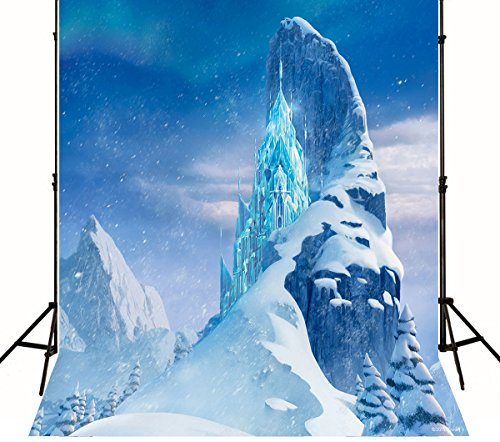 Photography Background Newborn 5x7 Blue Frozen Mountain Snow Ice Castle Backdrop for Kids Birthday Customized Baby Shower Wall Decorations -