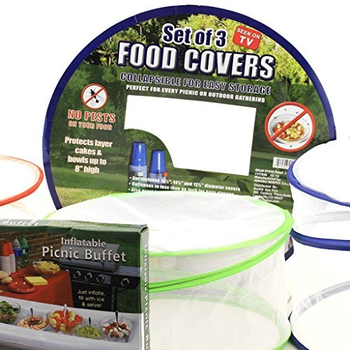 Collapsible Pop-up Mesh Food Covers Set & Inflatable Picnic Buffet Server - Tabletop Cooler and mesh Net Covers Are the Perfect Solution for Outdoor Parties! by Whimsical Garden