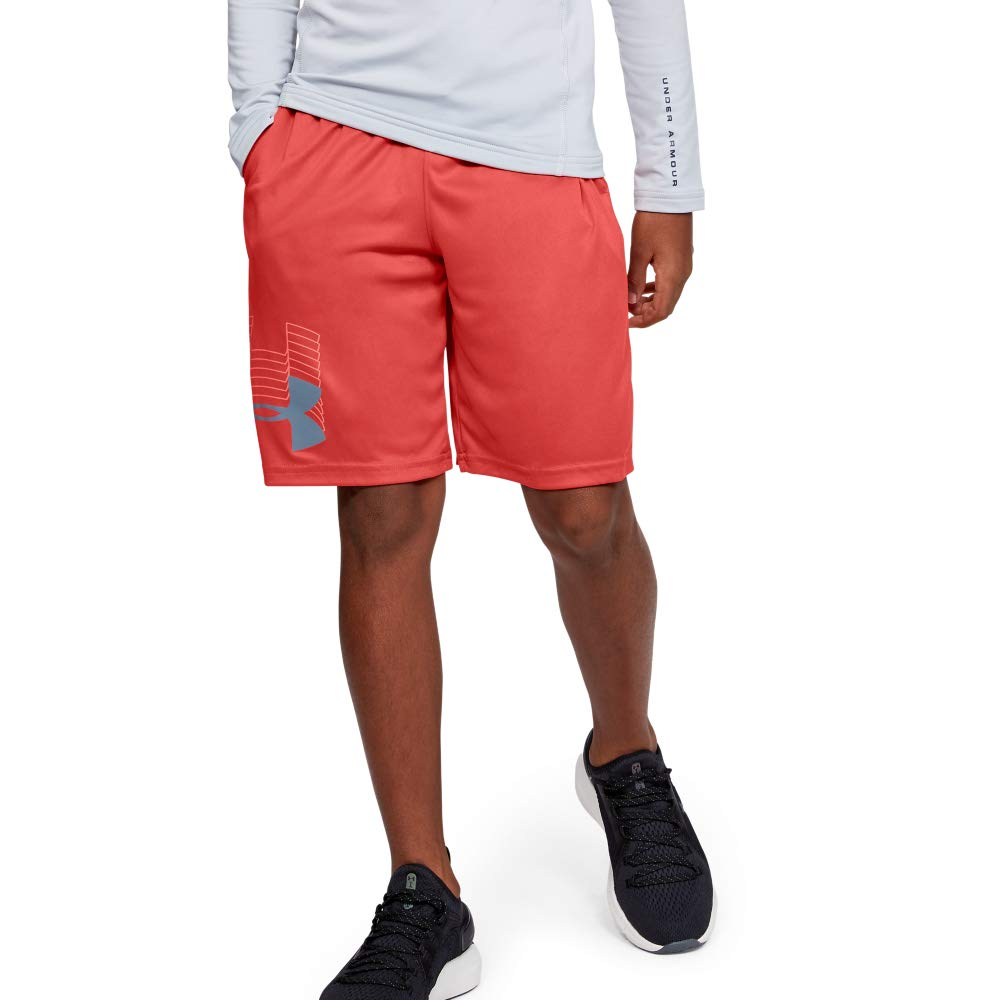 Under Armour boys Prototype Logo Shorts, Martian Red (646)/Ash Gray, Youth Large by Under Armour