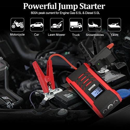 800A Peak Jump Starter with Emergency Light 4 Modes Motenik Car Jump Starter(Up to 6.5L Gas or 5.0L Diesel Engines) Auto Battery Booster Dual USB Power by Motenik (Image #1)