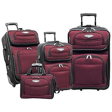 Travelers Choice Amsterdam 4-Piece Luggage Set (Burgundy)